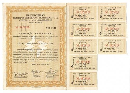 ação obrigações ao portador eletrobrás 1969 série m 8 cupons