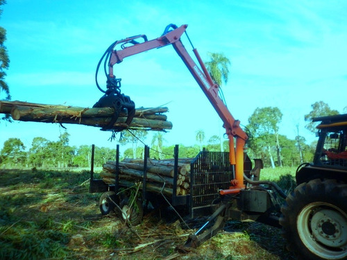 acoplado autocargable con grúa forestal bertotto