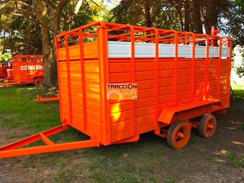 acoplados jaula  2 ejes- transporte de hacienda y caballos