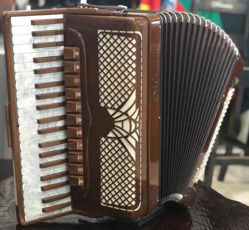 acordeon 120 baixos minuano super 8 120/41 madeira
