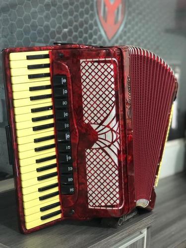 acordeon 120 baixos minuano super 8 120/41 vermelho
