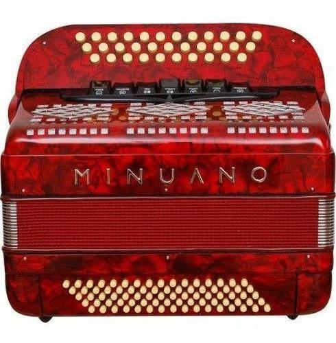 acordeon 80 baixos minuano série ouro 80/33 vermel botoneira