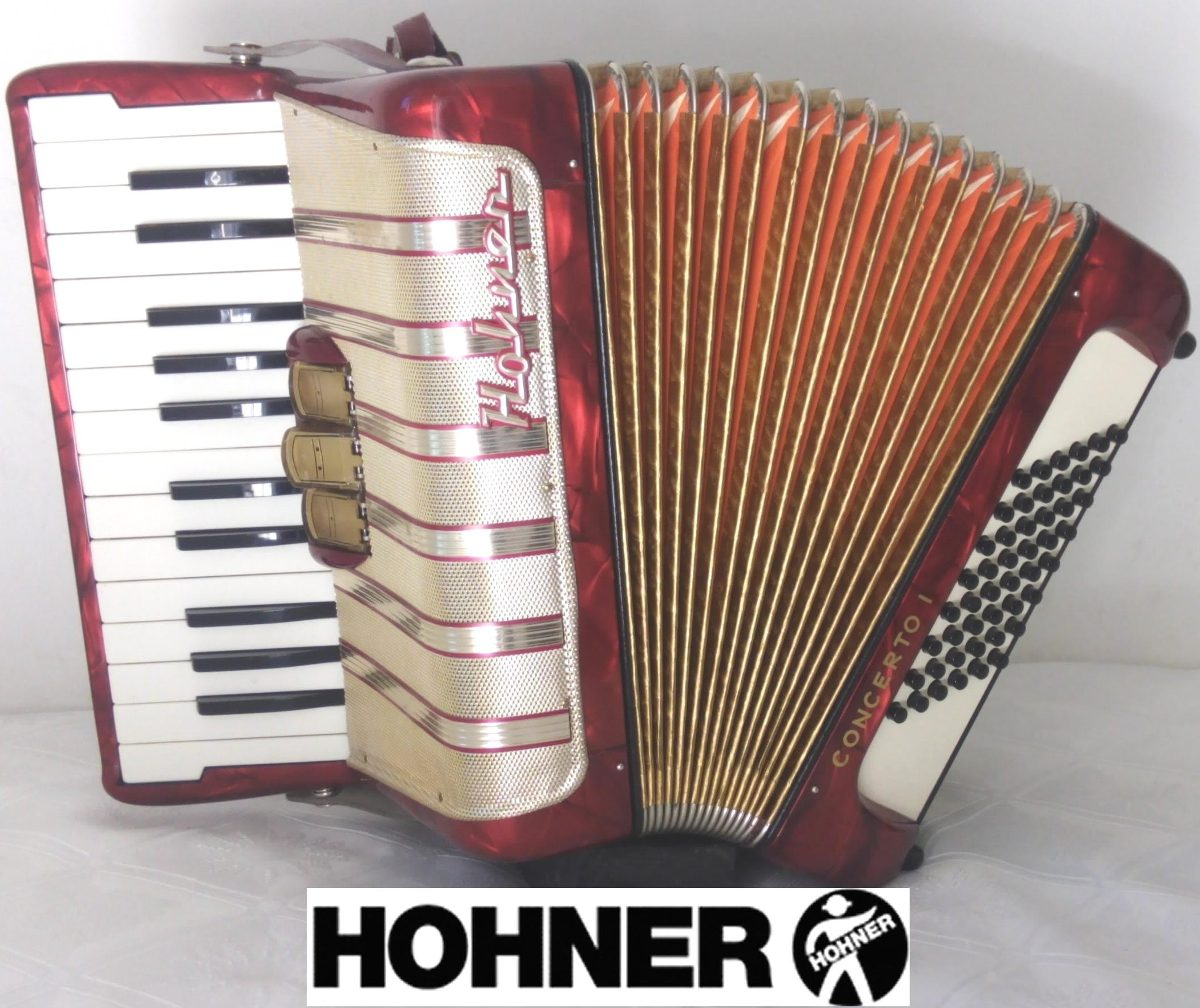 Acordeón A Piano Hohner Concerto 48 Bajos 3 Reg Alemán Roja