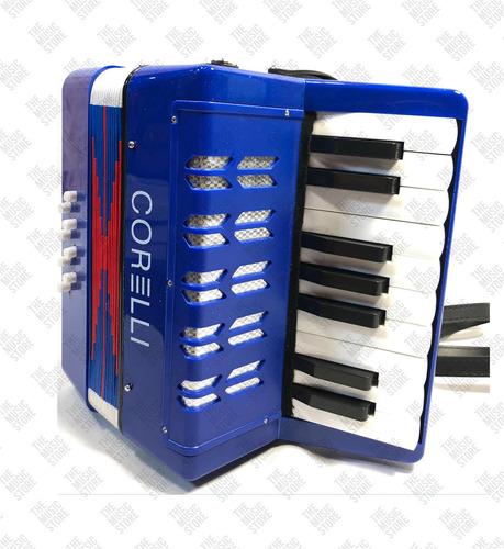 acordeón corelli a piano para niños 17 teclas  8 bajos