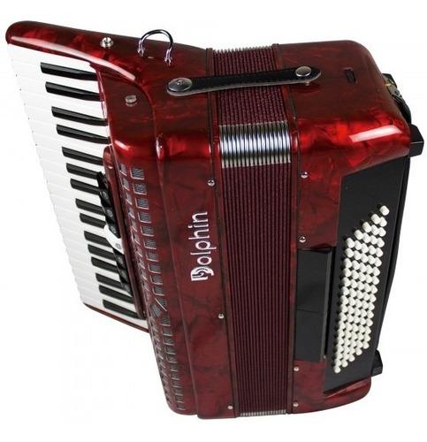 acordeon dolphin 6811 80 vermelho baixos 7 reg - refinado
