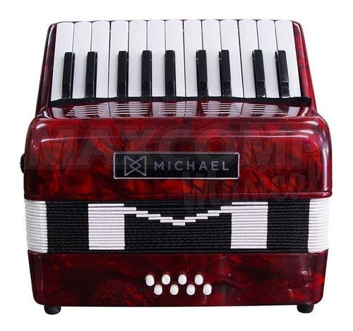 acordeon gaita sanfona michael 8 baixos acm0822 vermelha !!!