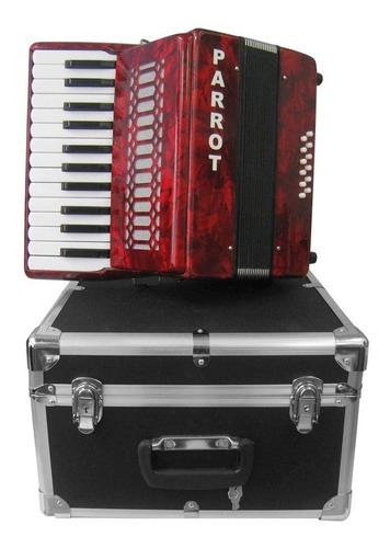 acordeon parrot teclas 25 teclas 12 bajos rojo
