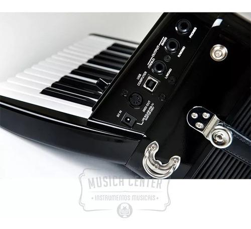 acordeon roland elétrico fr1x sanfona fr-1x bk preto com bag