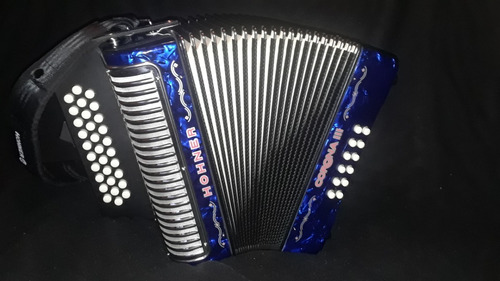 acordeon vallenato hohner - azul iii coronas + estuche