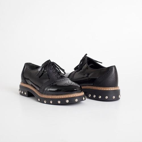 acordonado de cuero. art napoli negro. otro calzado