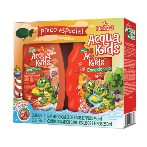 acqua kids estojo lisos e finos sh + cond 250ml