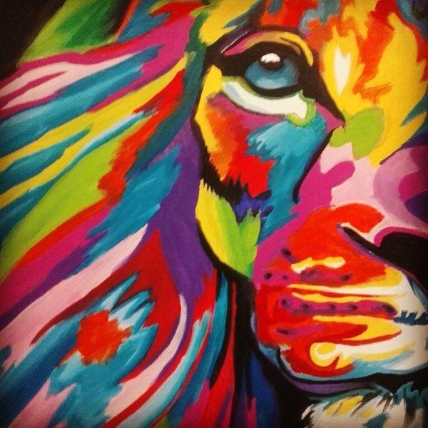 Acrilico Cuadro Leon Colores 325000 En Mercado Libre