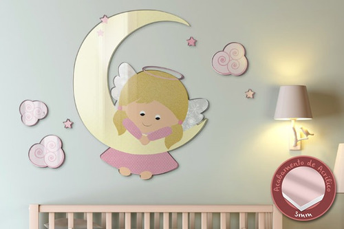 acrílico de parede anjinha lua - mudo minha casa