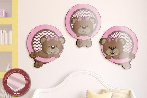 acrílico de parede as três ursinhas - mudo minha casa