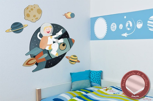 acrílico de parede astronauta - mudo minha casa