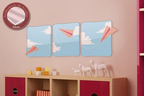acrílico de parede aviões de papel - mudo minha casa