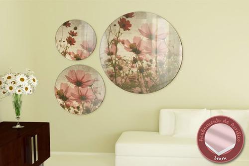 acrílico de parede flores - mudo minha casa