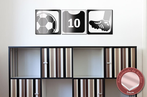 acrílico de parede futebol - preto - mudo minha casa