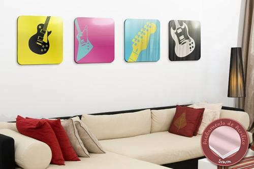acrílico de parede quadrinhos de guitarra - mudo minha casa