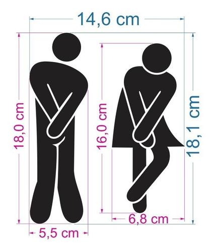 acrílico decorativo banheiro masculino feminino wc identific