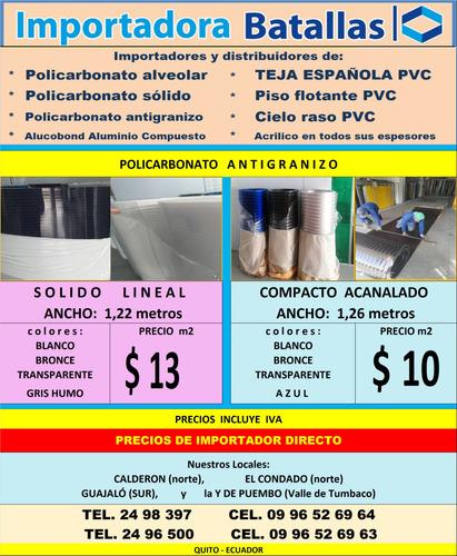 acrilico policarbonato teja española  duelas piso flotante m