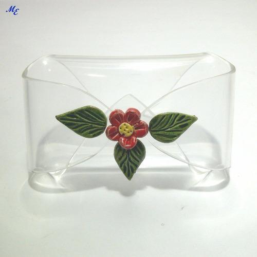 acrilico - tarjetero forma de pañuelo y pisapapel arcoiris