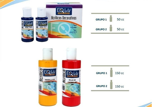 acrílicos eqarte  50ml  pintura acrílica pack x 12 unidades
