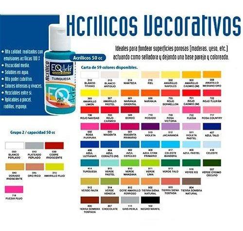 acrilicos metalizados pote 50cc pintura eqarte x 5 unidades