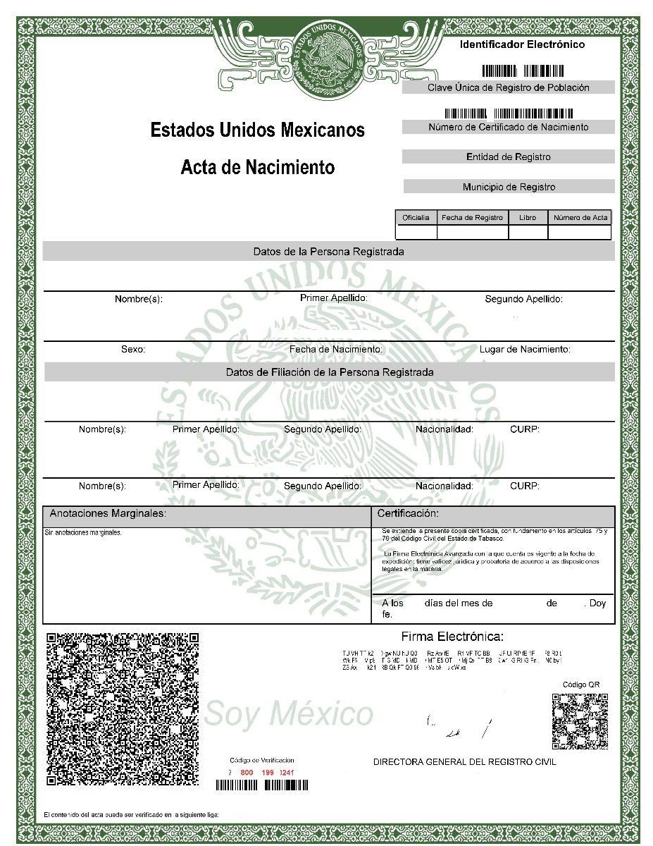 Acta De Nacimiento Certificada Original | Envío Gratis | - $ 345.00 ...