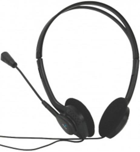acteck am-370 audifono basic hi-fi con microfono negro
