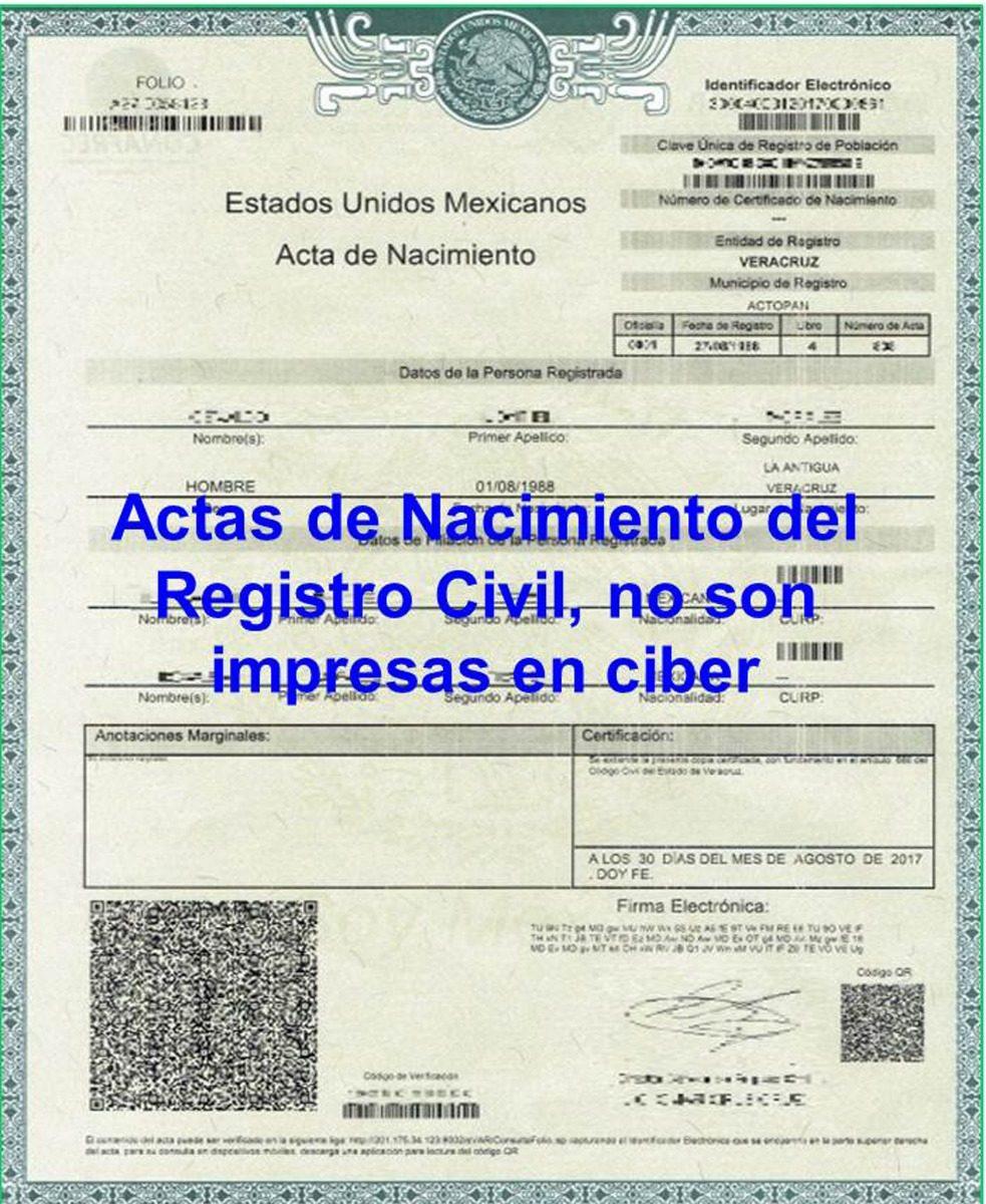 Actualización Actas De Nacimiento De Todos Los Estados - $ 505.00 en ...