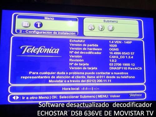 actualizción software movistar tv echostar 646v y 636v