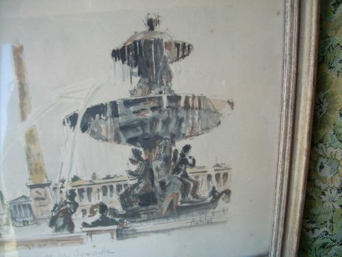 acuarela de paris año 1960 firmada