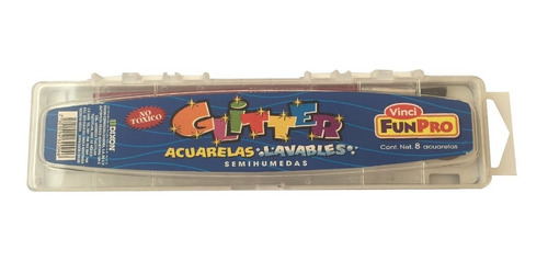 acuarelas lavables glitter vinci  8 colores