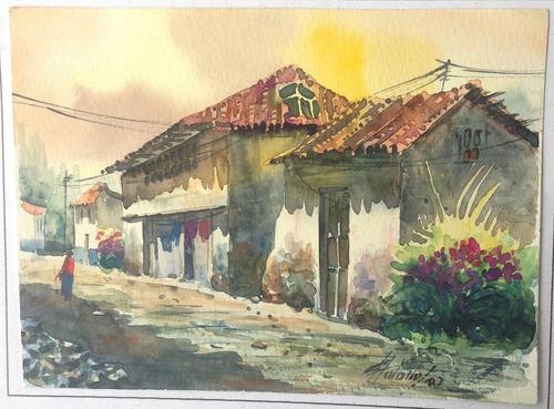acuarelas originales #3 ecuatorianas de 19x14 cms únicas