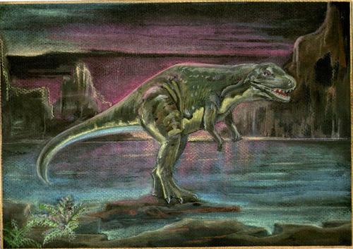 acuarelas sobre papel 29,5x21cm - dinosaurio carnosaurio 23