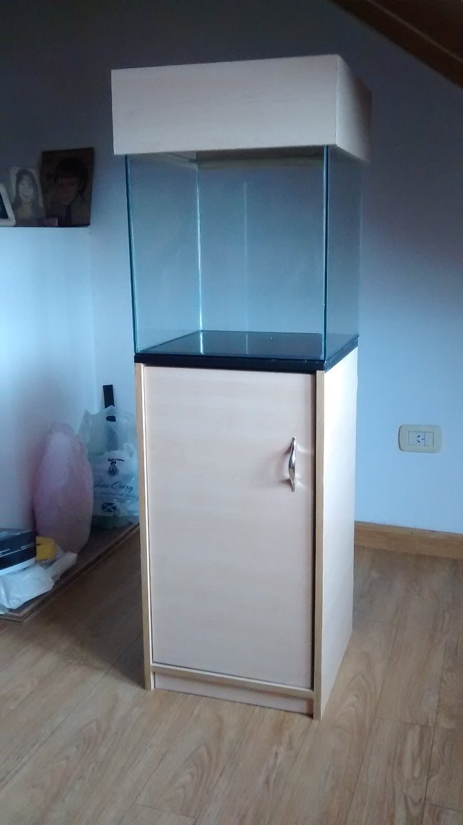 Acuario Completo Con Mueble Y Tapa Cubo 40 X 40 A Estrenar ...