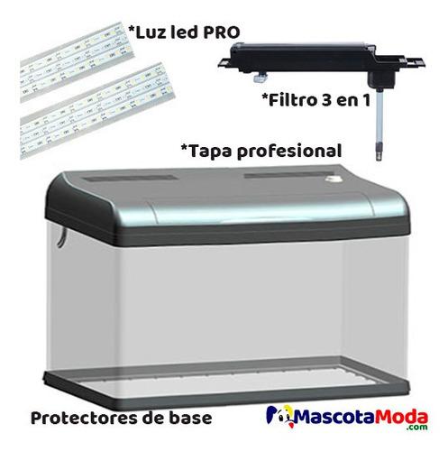 acuario leecom profesional con tapa luz y filtro 60cm 75lts