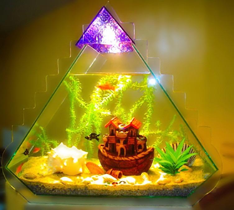Acuario pir mide iluminada con decoraci n s 270 00 en mercado libre - Decoracion para acuarios ...