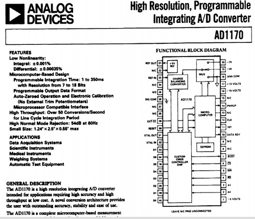 ad1170  dip-40, alta resolução integrando programável