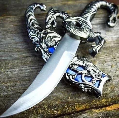 adaga aço dragão chines faca espada bainha p/ colecionador