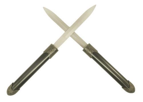 adaga faca bastão combate com 2 laminas encaixe vira bastão