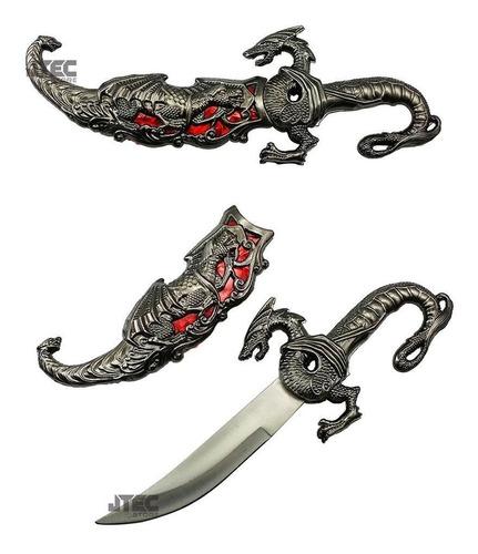 adaga faca punhal dragão zamac 25 cm..azul c/ nfe