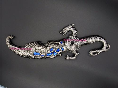 adaga faca punhal dragão zamac 25 cms.