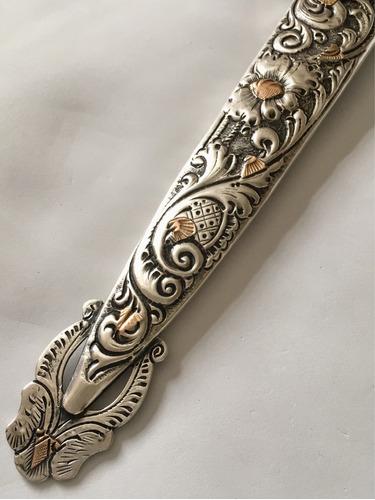adaga punhal gaúcha antiga prata de lei com detalhes ouro