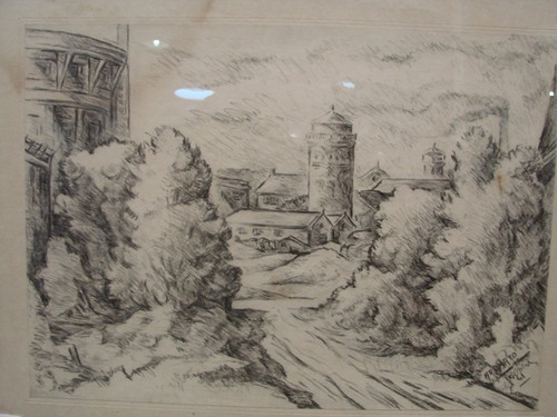 adamato / entrada pueblo / dibujo enmarcado / 35 x 40 # 1667