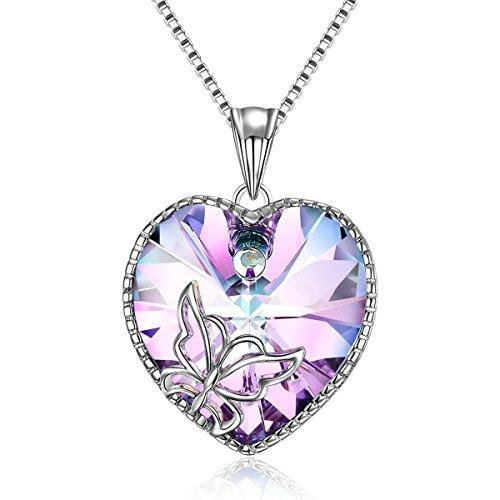 adan banfi mujeres purple blue heart colgante charm necklace