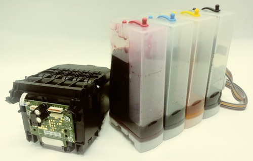 adaptação para bulk ink ploter hp t120 / t130 + 1 lt tinta
