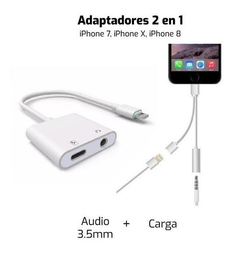 adaptador 2 en 1 para iphone 7, iphone x, iphone 8