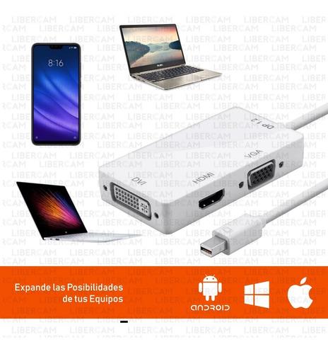 adaptador 3 en 1 video mini display port a hdmi dvi vga mac